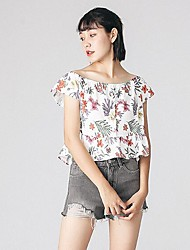 Women's Daily Simple Blouse,Floral Round Neck Short Sleeve Polyester