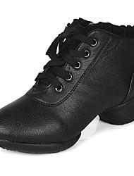 Maßfertigung Damen Tanz-Turnschuh Absätze Sneakers Praxis Spitzen Top Blockabsatz Schwarz Unter 2,5 cm