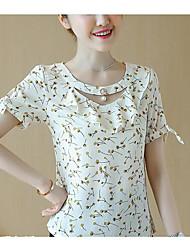 T-shirt Da donna Casual Semplice Estate,Con stampe Rotonda Cotone Manica corta