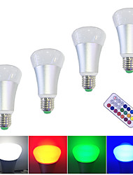 4PCS  E27 10W LED Smart Bulbs High Power LED 500 lm RGBW  Remote-Controlled Dimmable 85-265V