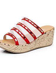 Feminino Sandálias Conforto Couro Verão Casual Conforto Anabela Branco Preto Vermelho Verde 5 a 7 cm