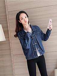 Feminino Jaqueta jeans Casual Simples Primavera,Sólido Padrão Algodão Colarinho Chinês Manga Longa