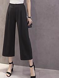 Feminino Simples Cintura Média Micro-Elástica Perna larga Calças,Largo Sólido