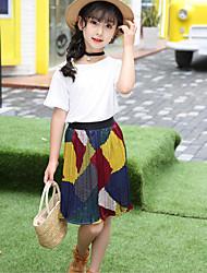 Девочки Наборы Мода Однотонные Пэчворк Лето С короткими рукавами Набор одежды