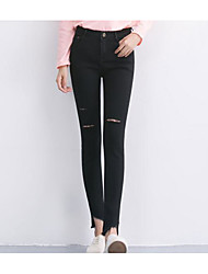 Women's High Rise Micro-elastic Jeans Pants,Simple Straight Ripped Solid
