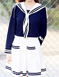 Women's Casual/Daily Cute Summer Shirt Skirt Suits,Solid Crew Neck Long Sleeve Cotton