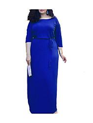 Ample Robe Femme Cérémonie simple,Couleur Pleine Col Arrondi Maxi Coton Hiver Taille Normale Micro-élastique Moyen