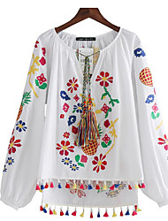 Damen Stickerei Einfach Alltag T-shirt,Asymmetrisch Langarm Baumwollmischung