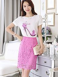 Damen einfarbig Druck Einfach Niedlich Ausgehen Lässig/Alltäglich Shirt Rock Anzüge,Rundhalsausschnitt Sommer Kurzarm Unelastisch