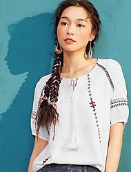Dámské Jednobarevné Výšivka Běžné/Denní Vintage Jednoduché Tričko Polyester Do V