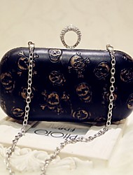 Women Evening Bag PU All Seasons Event/Party Party & Evening Club Baguette Magnetic Black