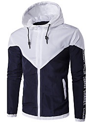 Men's Sport Casual/Daily Casual/Daily Sport Spring/Fall Winter Jacket,Color Block Hooded Long Sleeve Regular Polyester