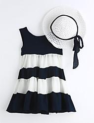 Girl's Stripe Dress,Cotton Summer Sleeveless