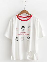 Damen Druck Muster Niedlich Lässig/Alltäglich T-shirt,Rundhalsausschnitt Langarm Baumwolle