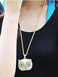 Pendant Necklace Long Owl Sweater Chain Vintage Punk Rock Jewelry