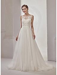 A-Line Princess Illusion Neckline Court Train Lace Tulle Wedding Dress with Beading Sashes/ Ribbons by LAN TING BRIDE®