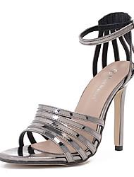 Women's Sandals Patent Leather Summer Buckle Stiletto Heel Black Dark Grey 4in-4 3/4in
