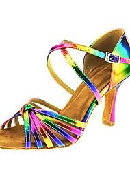 Для женщин-Атлас-Персонализируемая(Фиолетовый / желтый) -Латина Джаз Сальса Обувь для свинга