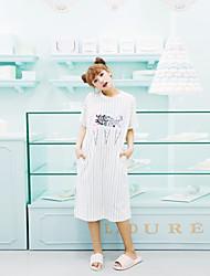 Vestido noturno feminino, padrão de bolo listrado simples e elegante, roupas de dormir finas