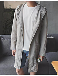 Men's Daily Modern/Comtemporary Summer Cloak/Capes,Solid Hooded Long Sleeve Long Polyester