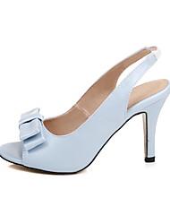 Women's Heels Leatherette Summer Bowknot Stiletto Heel White Blue Blushing Pink 3in-3 3/4in