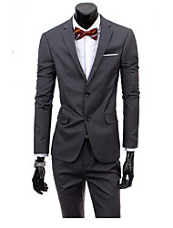 Men's Work Simple Spring Summer Suit,Solid Notch Lapel Long Pant Regular Polyester