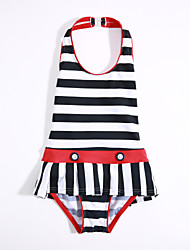 Girls' Stripes Stripes Swimwear,Cotton