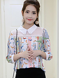 Women's Casual/Daily Simple Spring Summer Blouse,Floral Patchwork Shirt Collar ¾ Sleeve Others Sheer Thin