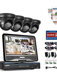 Sannce® 8ch 4pcs 720p résistant aux intempéries système de sécurité de surveillance 4in1 1080p lcd dvr moniteur compatible tvi analog ahd