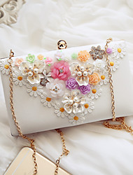 Women Evening Bag PU All Seasons Event/Party Party & Evening Date Baguette Magnetic White