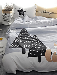 fashion bedding set 4pcs for twin size fox tree printed cartoon kids duvet cover set bedsheet pillowcase
