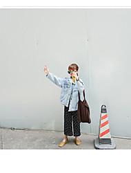 Feminino Jaqueta jeans Decote Redondo Manga Longa