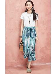 Dámské Jednobarevné Proužky Denní moderní - současný design Trička Sukně Obleky-Léto Kulatý Krátký rukáv strenchy