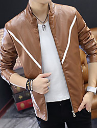 Casual/Daily Simple Leather Jacket,Striped Round Neck Long Sleeve Spring Wash inside out Dry flat Others Regular