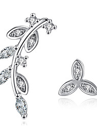 Stud Earrings Elegant Classic Silver Jewelry Rhinestone Leaf Lady Daily Party  Movie Gift
