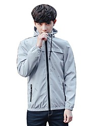 Men's Daily Casual Nature Inspired Casual Spring/Fall Jacket,Solid Hooded Long Sleeve Regular Polyester Taffeta