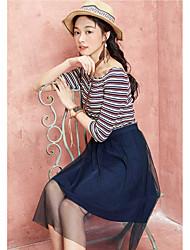 Dámské Běžné/Denní A Line Šaty Jednobarevné Proužky Úzký výstřih Délka ke kolenům Bavlna Polyester Léto Mid Rise Lehce elastické Tenké