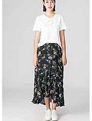 Women's Casual/Daily Midi Skirts A Line Floral Summer