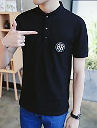 Herren Solide Muster Einfach Normal T-shirt,Stehkragen Kurzarm Baumwolle