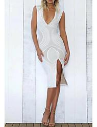 Для женщин На выход На каждый день Простое Уличный стиль Свободный силуэт Прямое Платье Однотонный Кружева Печать,Глубокий V-образный