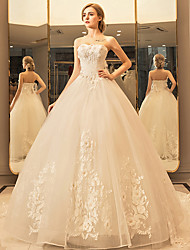 Princess Sweetheart Floor Length Tulle Wedding Dress with Crystal Appliques Lace