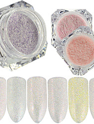 0.2g/bottle New Fashion Candy Color Nail Art DIY Beauty Glitter Sugar Coating Powder Beautiful Shining Mermaid Design Sparkling Decoration TY12-17