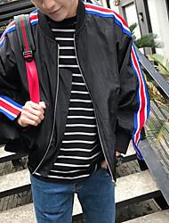 Men's Daily Modern/Comtemporary Cross-Seasons Summer Jacket,Solid Striped Round Neck Long Sleeve Regular Polyester