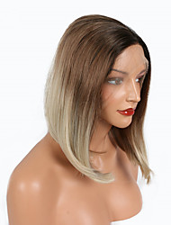 Dark Brown Ombre Medium Brown To Blonde Bob Wigs Two Tone Heat Resistant Fiber Synthetic Lace Front Wigs