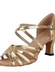 Maßfertigung Damen Latin PU Sandalen Absätze Innen Verschlussschnalle Niedriger Heel Gold 5 - 6,8 cm