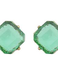 Korean Style Vintaget Square Simple Gem Stud Earrings Lady Daily Stud Earrings Gift Jewelry