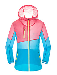 Women's Casual/Daily Sports Holiday Active Summer Fall Trench Coat,Color Block Hooded Long Sleeve Regular Nylon