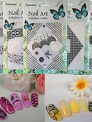 1pcs New Fashion Beautiful Pattern Design DIY Creative Mixed Black&White Decoration Nail Art 3D Sticker For Nail DIY Beauty BP231-240
