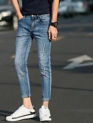 Homme simple Taille Normale Micro-élastique Jeans Pantalon,Mince Toile de jean Couleur Pleine