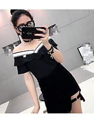 Damen Solide Sexy T-shirt,V-Ausschnitt Kurzarm Baumwolle